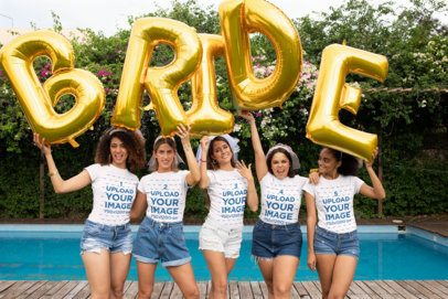 T-Shirt Mockup of a Bride and Her Friends Holding Balloons at a Bachelorette Party 29688