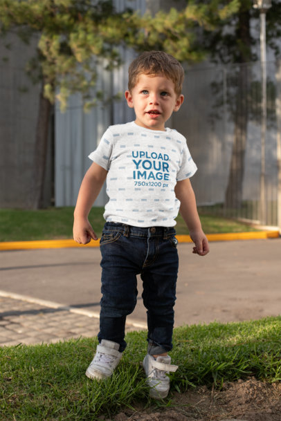 Mockup of a Little Boy Wearing a Short-Sleeve Heathered Onesie 29912