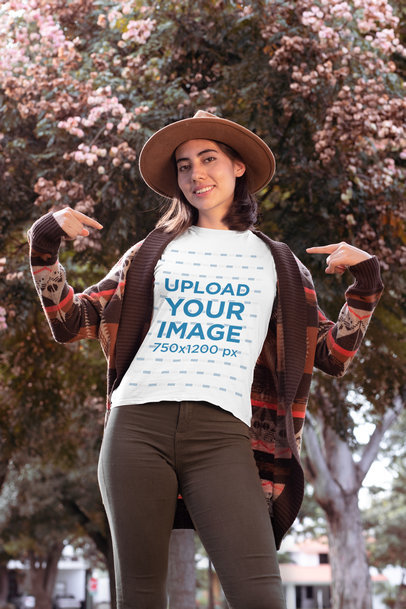 Mockup of a Stylish Woman Pointing at Her T-Shirt in Fall 30111