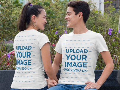 Both-Sides T-Shirt Mockup Featuring a Romantic Couple Looking at Each Other 29763