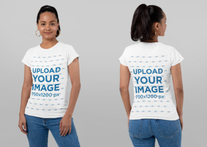 Both-Sides Mockup of a Woman Wearing a T-Shirt and Hoop Earrings at a Studio 29650