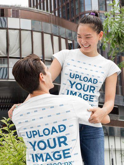T-Shirt Mockup of a Happy Couple Hugging 29764