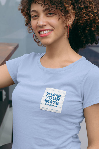Mockup of a Woman Wearing a Tee with a Customizable Front Pocket 30061