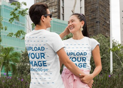 Back and Front T-Shirt Mockup of a Couple Holding Hands 29766