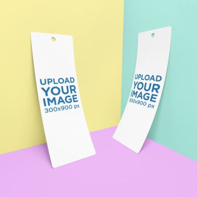 Mockup of Two Bookmarks Leaning on the Corner of a Customizable Setting 886-el