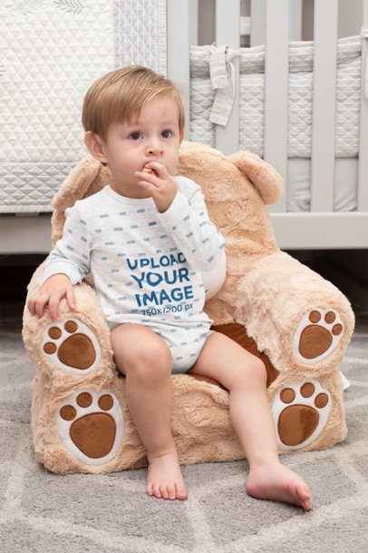 Heathered Onesie Mockup of a Little Boy Sitting on a Teddy Bear Chair 29999