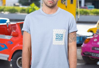 Mockup of a Tattooed Man Wearing a T-Shirt with Pocket 30044