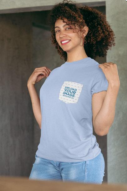 Pocket Tee Mockup Featuring a Joyful Woman Showing off Her T-Shirt 30065