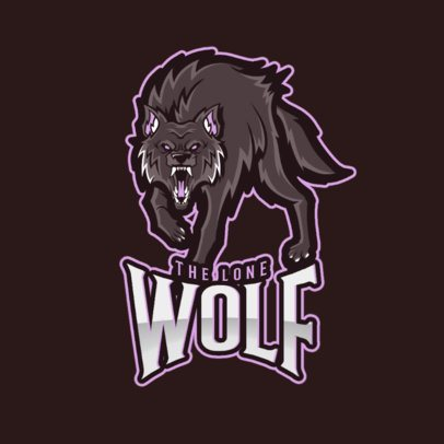 Gaming Logo Maker Featuring a Lonely Wolf Clipart 2680a