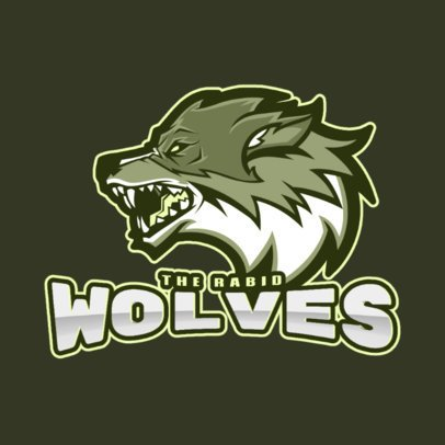 Logo Maker for a Gaming Squad Featuring a Side-Face Wolf 2680c