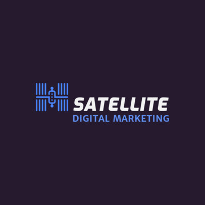 Digital Marketing Company Logo Template  Featuring a Satellite Clipart 2230j 129-el