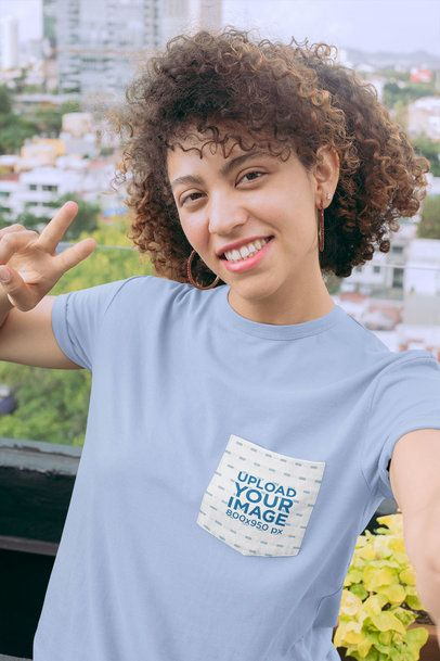 Selfie Mockup of a Woman Wearing a Pocket Tee 30068