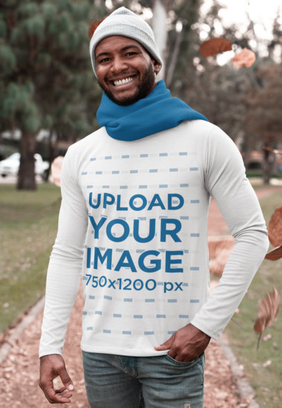 Mockup of a Smiling Man Wearing a Long Sleeve Tee in the Fall 30304