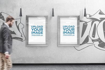 Mockup of Two Posters Placed in an Urban Scenario 909-el