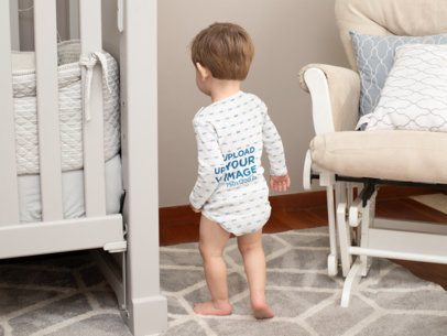 Back View Mockup of a Baby Wearing a Sublimated Onesie 30001