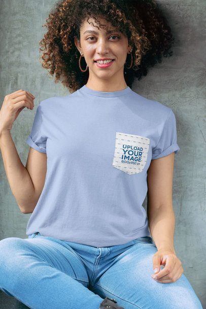 Pocket Tee Mockup of a Woman with Natural Hair Smiling 30066