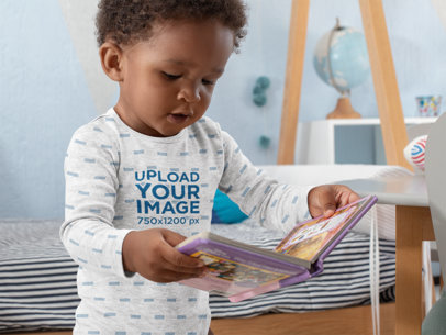 Sublimated Onesie Mockup of a Baby with a Fairytale Book at His Room 30024