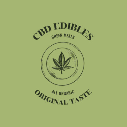 CBD Edibles Logo Maker Featuring a Marijuana Leaf Graphic 2647f