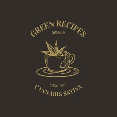Logo Template Featuring a Cannabis-Infused Tea Cup 2647g