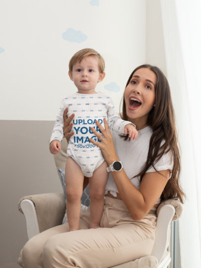 Sublimated Onesie Mockup of a Baby Boy with His Mom 29997