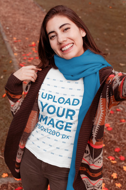 T-Shirt Mockup of a Woman Taking a Selfie in Fall 30112