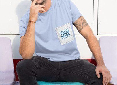 Pocket Mockup of a Man Wearing a T-Shirt 30046