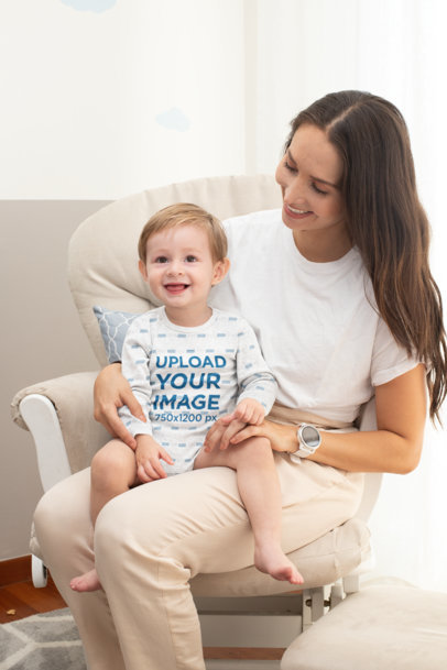 Mockup of a Baby with a Heathered Long Sleeve Onesie Sitting on His Mother's Lap 30004
