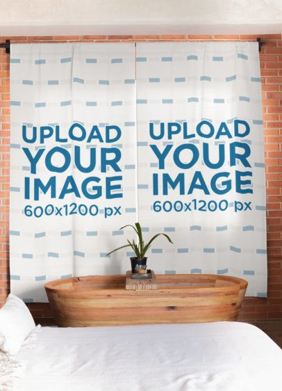 Sublimated Curtains Mockup Hanging on a Brick Wall 30091