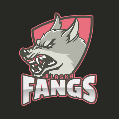 Sports Logo Template Featuring a Fierce Wolf 2680h