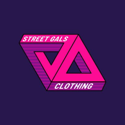 Placeit Urban Clothing Logo Template For Skaters Featuring A 3d Triangle Graphic