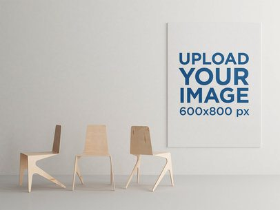 Minimal Art Print Mockup Featuring Three Modern Wooden Chairs 846-el