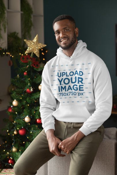 Christmas Mockup Featuring a Man Wearing a Hoodie Pullover 30368