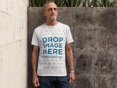 Elder Man Standing in an Urban Space T-Shirt Mockup a10984