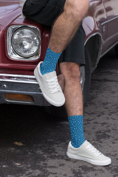 Sublimated Socks Mockup Featuring a Man Leaning Against a Muscle Car 29548