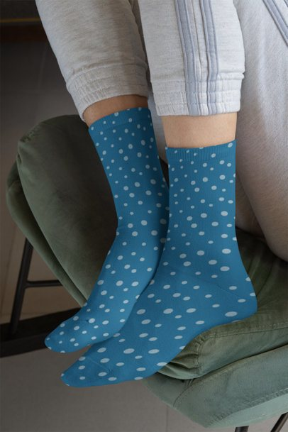 Mockup of a Woman Wearing Long Sublimated Socks 29529a