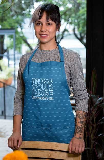 Mockup of a Hipster Woman Wearing an Apron at a Restaurant 30266