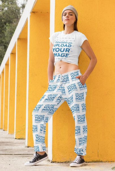 Knotted Tee Mockup of a Serious Woman Wearing Sweatpants 29867