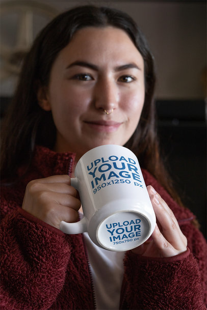 15 oz Hidden Message Mug Mockup Featuring a Woman with a Nose Piercing 30123