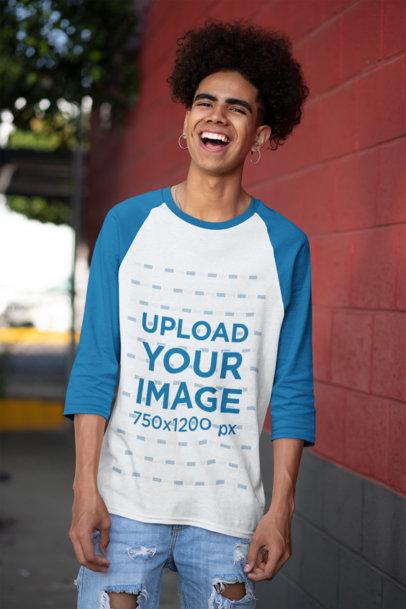 Three-Quarter Sleeves Raglan T-Shirt Mockup Featuring a Man with Natural Hair 30228