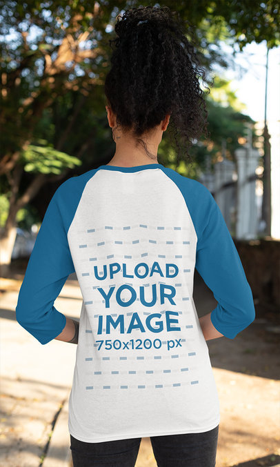 Back View Mockup of a Woman Wearing Raglan T-Shirt with Three-Quarter Sleeves 30237