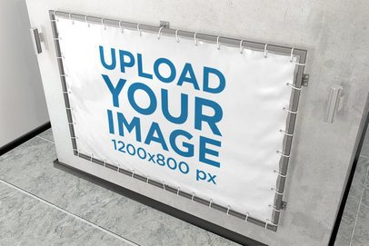 Horizontal Banner Mockup Placed Against a Concrete Wall 900-el