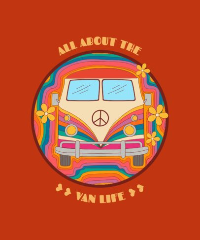 Retro T-Shirt Design Template Featuring a Hippie Van Graphic 1954a