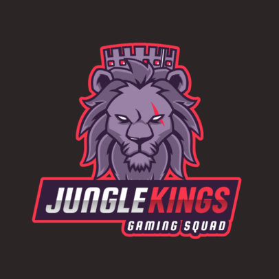 Gaming Logo Template with a Fierce Lion Graphic 2704