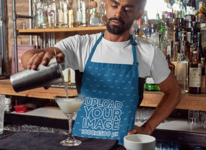 Mockup of a Barista Wearing an Apron While Serving a Drink 30295