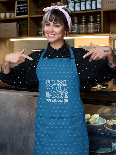 Mockup of a Barista Pointing at Her Sublimated Apron