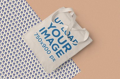 Tote Bag Mockup Featuring a Patterned Background 1061-el