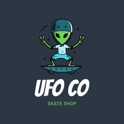 Clothing Brand Logo Maker Featuring an Alien Skater 2698