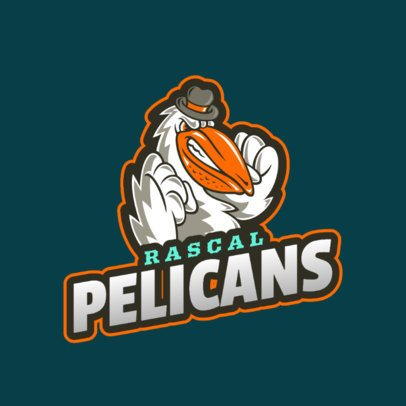 Sports Team Logo Maker Featuring a Cartoonish Pelican Graphic 2693g