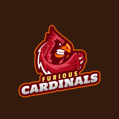 Online Logo Template for a Sports Team Featuring an Aggressive Cardinal Illustration 2693h