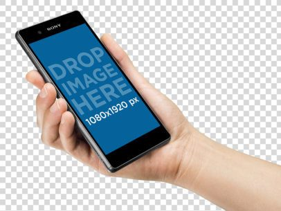 Android Phone Mockup Held in Angled Position by a Woman a10771